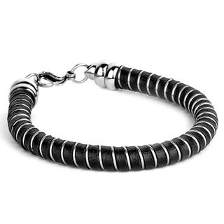 Crucible Men's Stainless Steel and Leather Wrap Bracelet