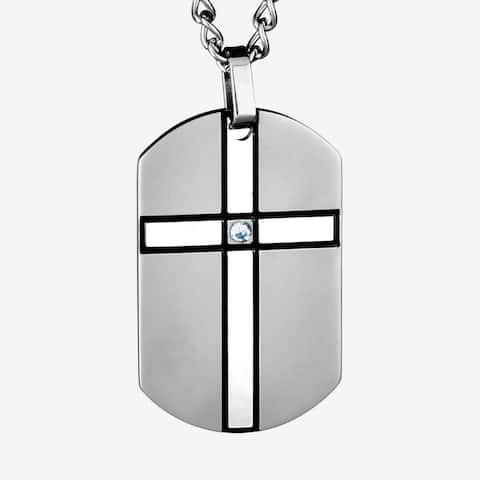 Stainless Steel Clear Cubic Zirconia Cross Dog Tag Necklace