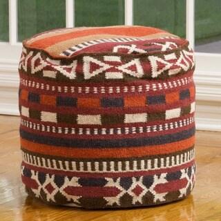 Christopher Knight Home Cheyenne Red-Multi Wool Pouf Ottoman
