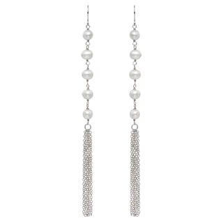 Pearlyta Sterling Silver Freshwater Pearl Long Tassel Earrings (5-6 mm)