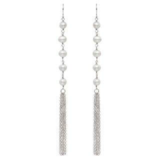 Pearlyta Sterling Silver Freshwater Pearl Long Tassel Earrings (5-6 mm) - White