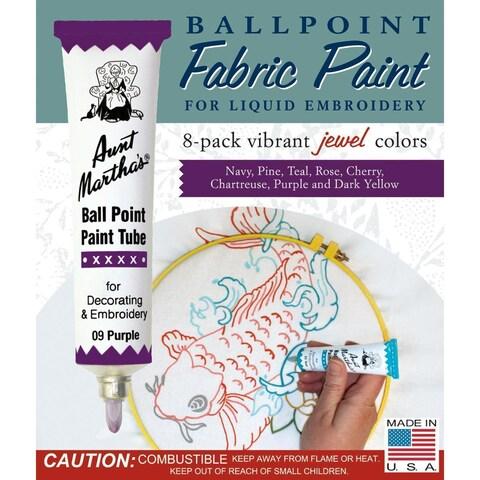 Aunt Martha's Ballpoint Paint Tubes 1 Ounce 8/Pkg - Jewel Colors