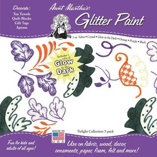 Aunt Martha's Glitter Paint Tubes 3 Ounce 5/Pkg - Twilight