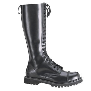 Demonia Men's Rocky-20' Black Leather 20-eyelet Knee-high Boots