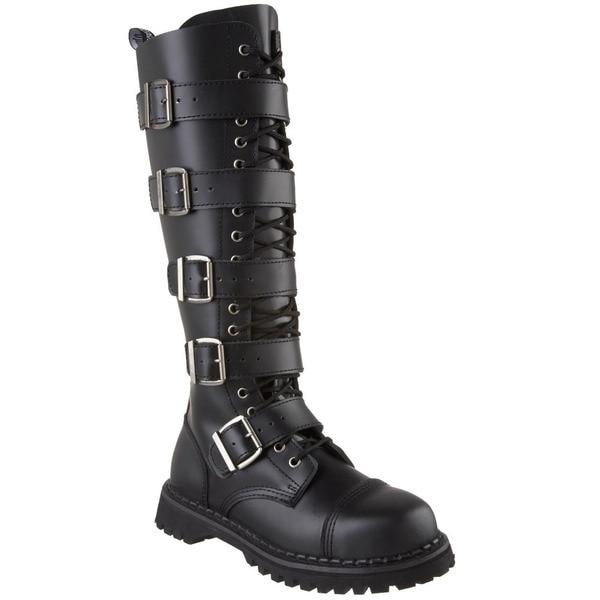 f0f59e104a9 Shop Demonia Men s  Riot-20  Black Leather 5-strap Knee-high Boots ...