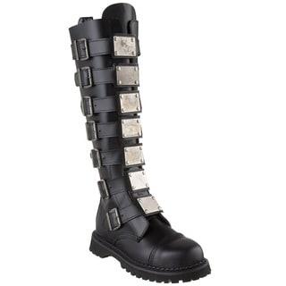 Demonia Men's 'Reaper-30' Black Leather Metal Strap Boots