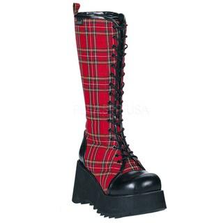 Demonia Women's 'Scene-100' Red Plaid Knee-high Platform Boots