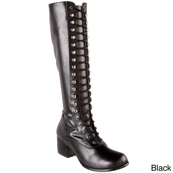 Funtasma Women's 'Retro-302' Black Patent Lace-up Boots
