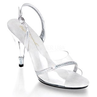 Pleaser Women's 'Caress-456' Clear Stiletto Slingback Sandals