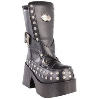 Demonia Women's 'Platoon-205' Black Mid-calf Studdded Platform Boots