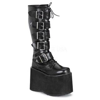 Demonia Men's 'Mega-618' Black Knee-high Buckle Strap Platform Boots