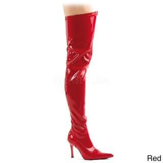 FUNTASMA LUST-3000 3 3/4-inch Heel Stretch Faux Leather Pointy Toe Thigh High Boot