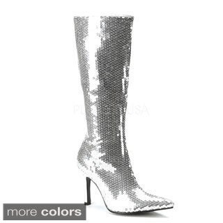 Funtasma Women's 'Lust-2001' Sequined Knee-high Stiletto Boots