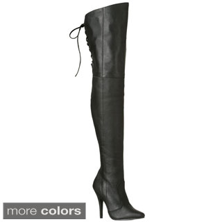 Pleaser Women's 'Legend-8899' Thigh-high Lace Back Stiletto Boots (Option: 13)