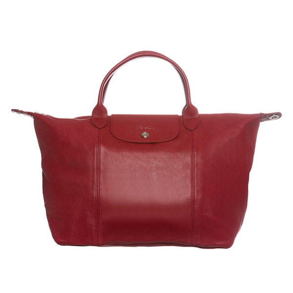 a4aee3ef3e649 Shop Longchamp  Le Pliage Cuir  Medium Red Leather Handbag - Free ...