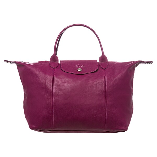 Shop Longchamp 'Le Pliage Cuir' Medium Fuchsia Leather