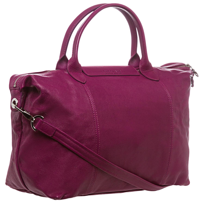 Longchamp 'Le Pliage Cuir' Medium Fuchsia Leather Handbag