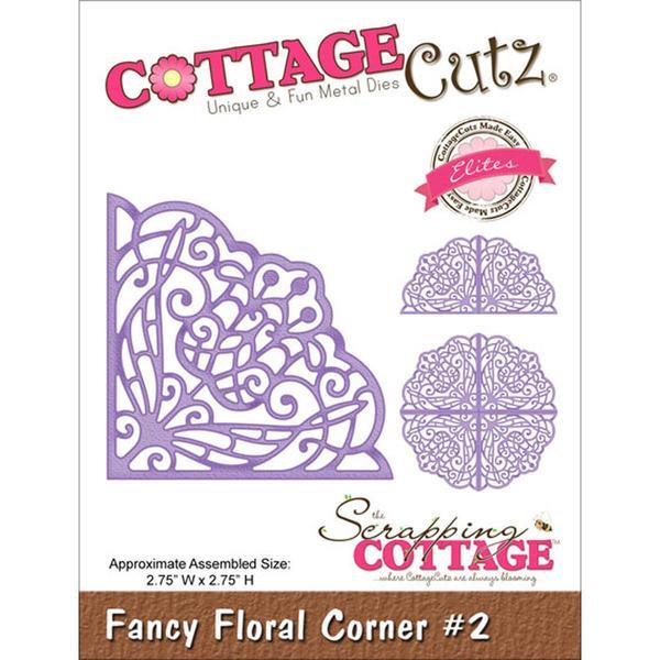 CottageCutz Elites Die - Fancy Floral Corner #2