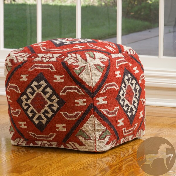 Christopher Knight Mayan Red Wool Pouf Ottoman