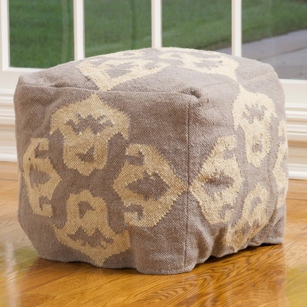 Christopher Knight Home Apache Grey and White Wool Pouf Ottoman