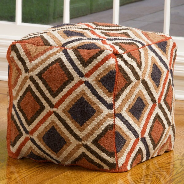 Christopher Knight Home Mohawk Brown Wool Pouf Ottoman