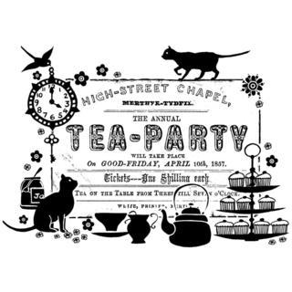 Crafty Individuals Unmounted Rubber Stamp 4.75 X7 Pkg - Tea Party Ticket