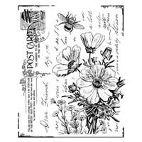 Crafty Individuals Unmounted Rubber Stamp 4.75 X7  Pkg - Floral Postcard