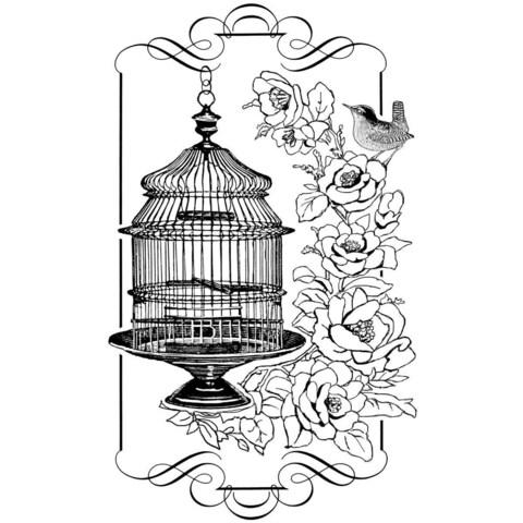 Crafty Individuals Unmounted Rubber Stamp 4.75 X7 Pkg - Floral Birdcage