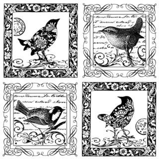 Crafty Individuals Unmounted Rubber Stamp 4.75 X7  Pkg - Four Little Songbirds