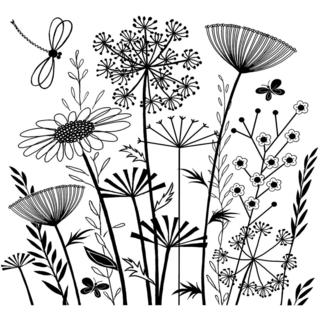 Crafty Individuals Unmounted Rubber Stamp 4.75 X7 Pkg - Summer Meadow