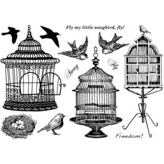 Crafty Individuals Unmounted Rubber Stamp 4.75 X7  Pkg - Beautiful Birdcages