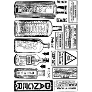 Crafty Individuals Unmounted Rubber Stamp 4.75 X7  Pkg - Poison and Danger