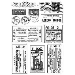 Crafty Individuals Unmounted Rubber Stamp 4.75 X7 Pkg - Vintage Tickets and Postmarks