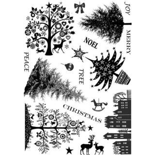 Crafty Individuals Unmounted Rubber Stamp 4.75 X7  Pkg - Mini Christmas Trees