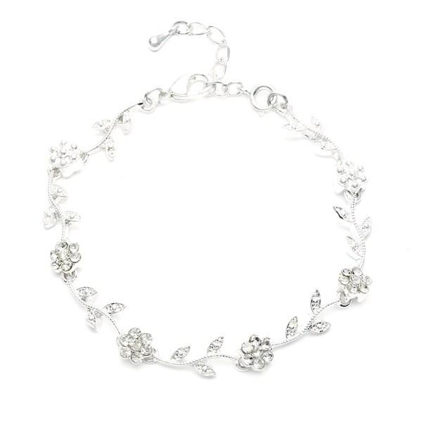 Silvertone Crystal Flower Leaf Design Bracelet