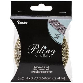 Bling On A Roll 3mm X 3yds - 4 Row, Gold