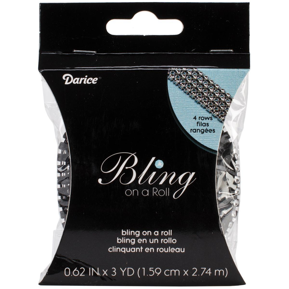 DARICE Bling On A Roll 3mm X 3yds - 4 Row, Black/Silver (...
