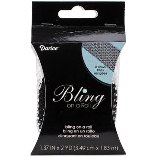 Bling On A Roll 3mm X 2yds - 8 Row, Black/Silver
