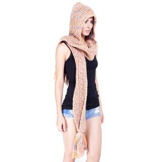 Hand-knit Peach Fuzz Acrylic Wool Scarf Hat (Nepal)