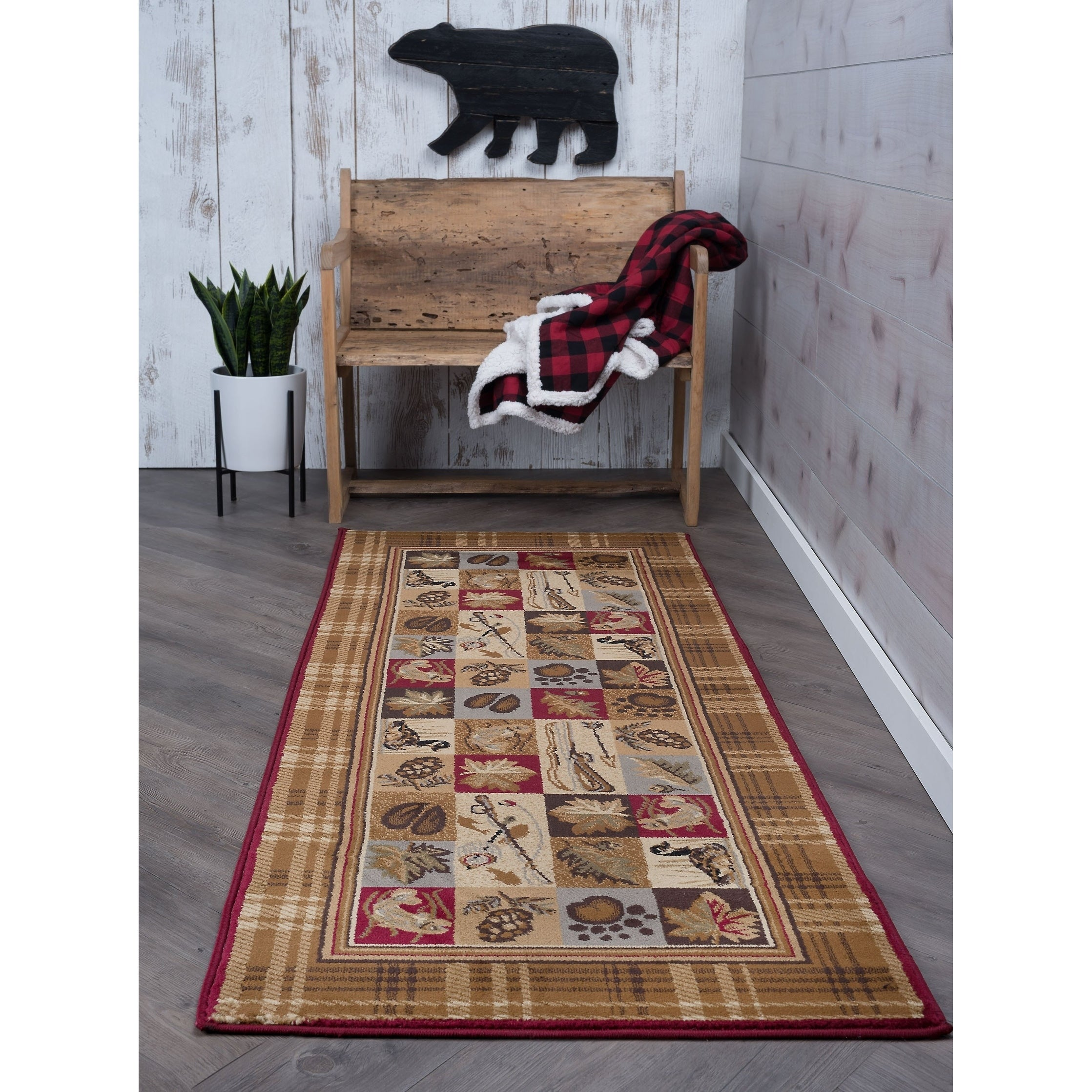 Tayse Alise Natural Multi Lodge Runner (2'7 x 7'3), Size ...