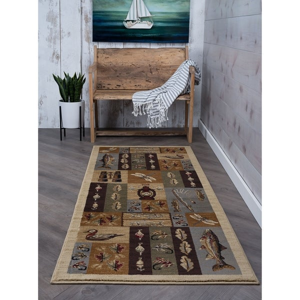 Shop Alise Rugs Natural Lodge Novelty Runner Rug Sale Free Shipping