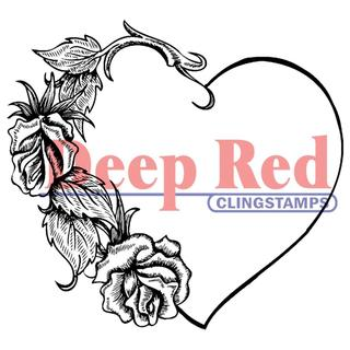 Deep Red Cling Stamp - Heart With Roses