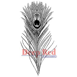 Deep Red Cling Stamp - Peacock Feather
