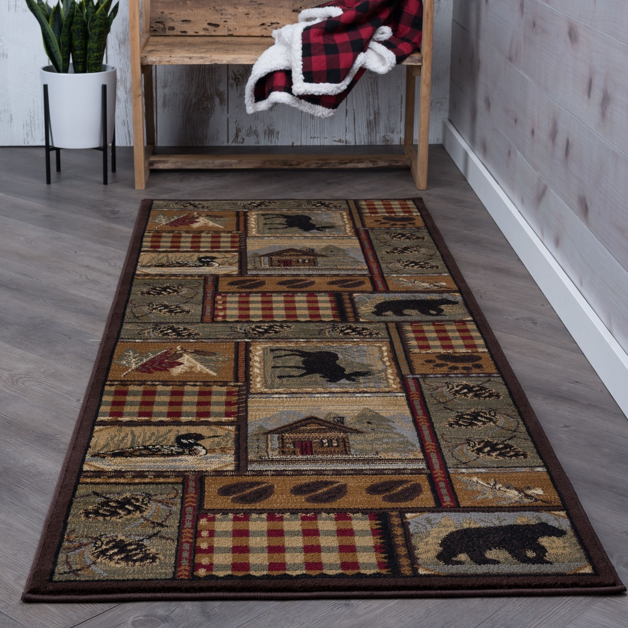 Alise Natural Brown Lodge Runner (2'7 x 7'3) - 2'7 x 7'3,...