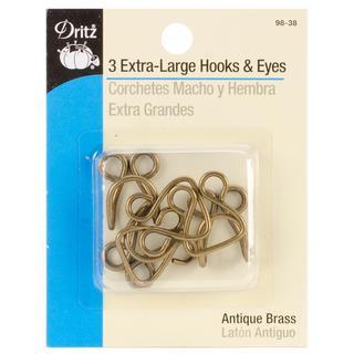 Extra-Large Hook & Eyes 3/Pkg - Antique Brass