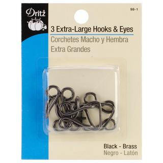 Extra-Large Hook & Eyes 3/Pkg - Black