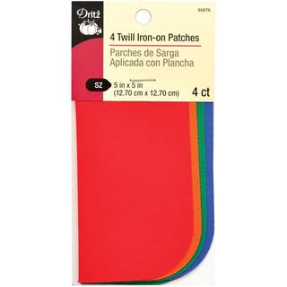 Iron-On Patches Twill 5 X5 - Bright 4/Pkg