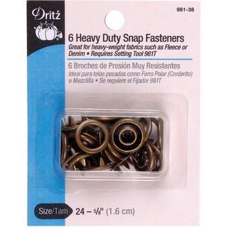 Heavy Duty Snap Fasteners 5/8 6/Pkg - Antique Brass