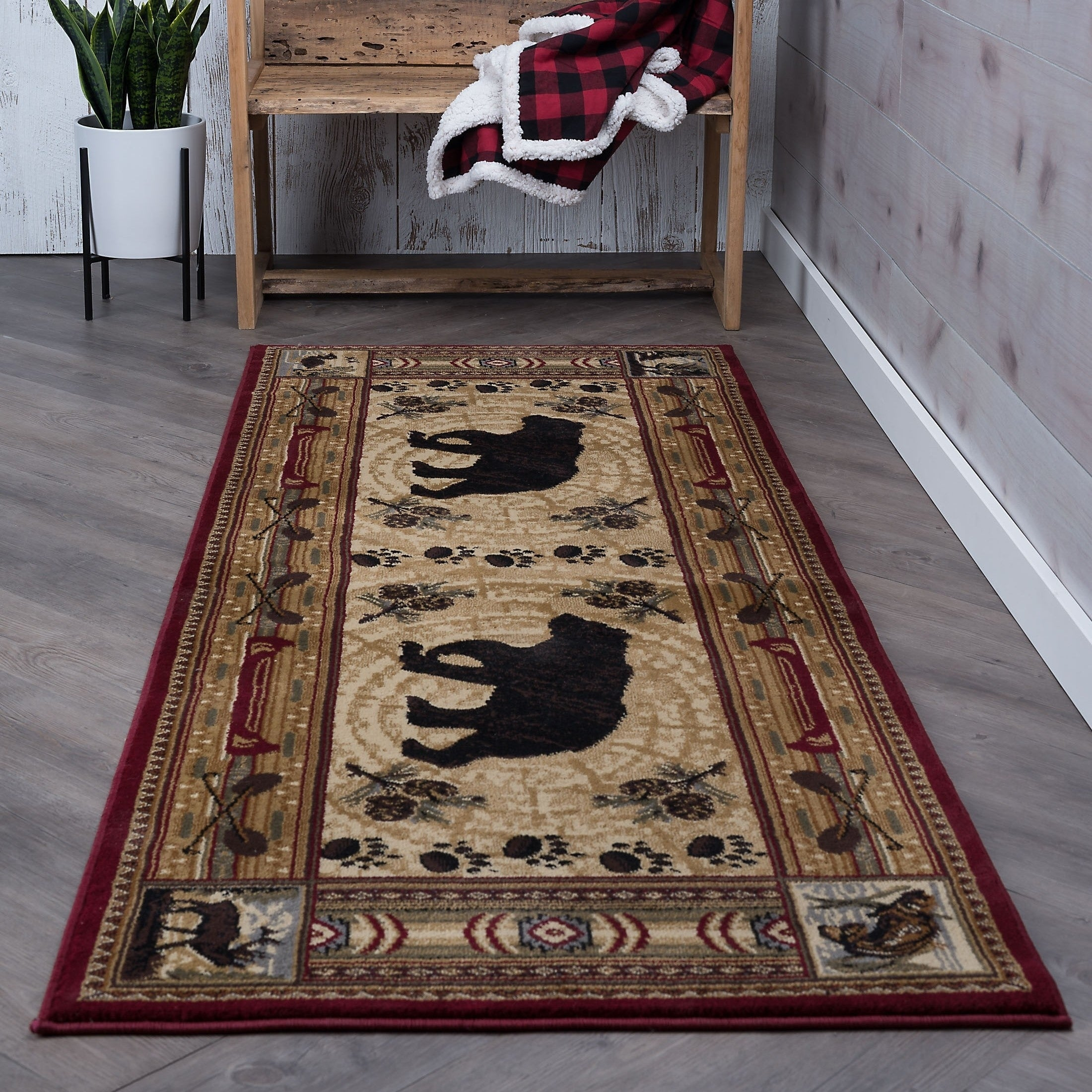 Alise Natural Red Lodge Runner (2'7 x 7'3) - 2'7 x 7'3, M...