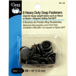 Heavy Duty Snap Fasteners 5/8 6/Pkg - Antique Silver